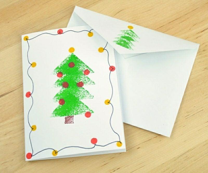 Weihnachtsgrüβe Karte mit den Kindern basteln Tannenbaum
