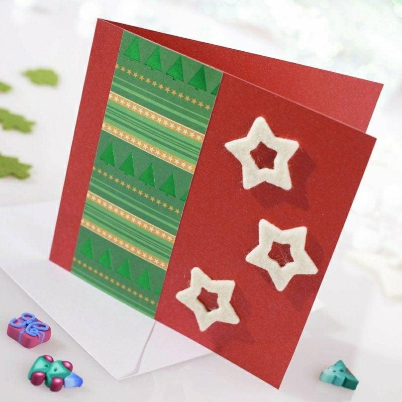 Weihnachtsgrüβe originelle Karte mit Filz Sternen