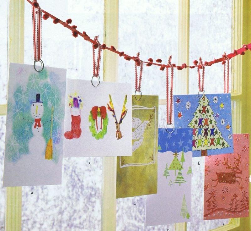 Weihnachtsgrüβe Karten mit den Kindern basteln