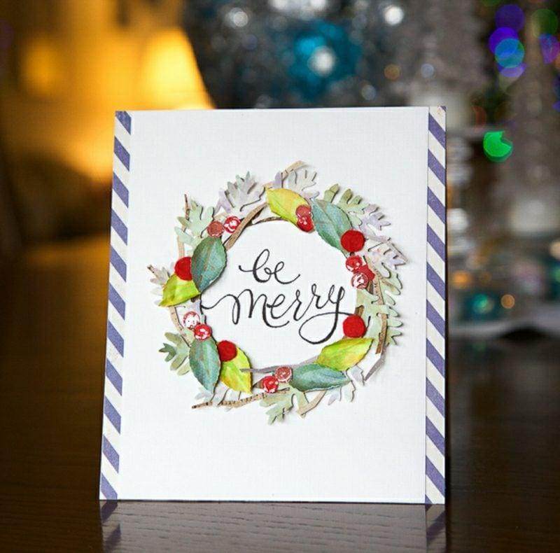 Weihnachtsgrüβe Bastelideen Karte papier