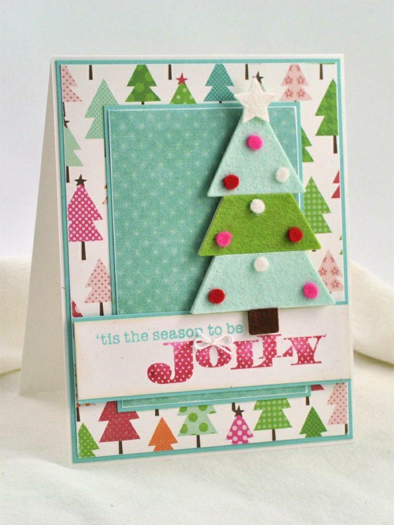 Weihnachtsgrüβe und Karten Bastelideen mit Filz