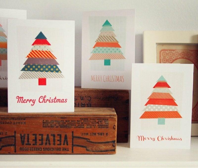 Weihnachtsgrüβe originelle Karten Tannenbaum Klebeband