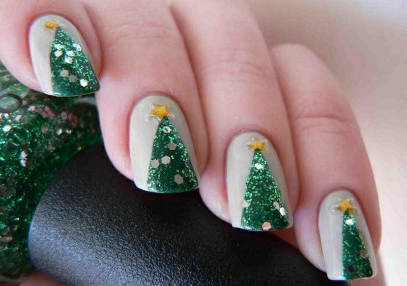 Nageldesign Weihnachten Tannenbaum herrlicher Look
