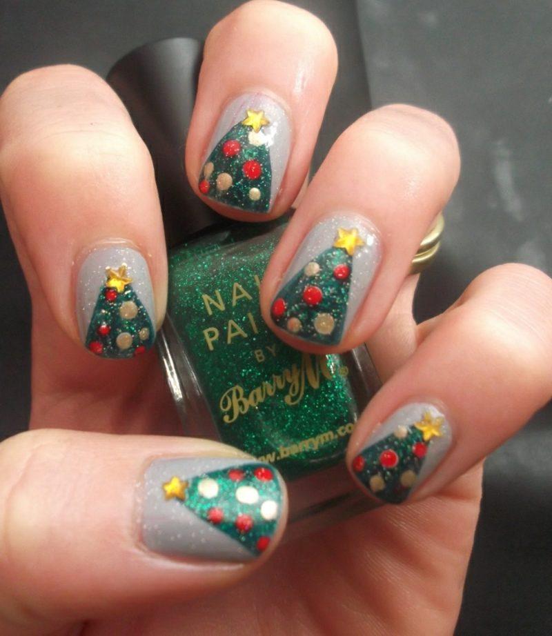 Nageldesign Weihnachten tolle Motive Tannenbaum