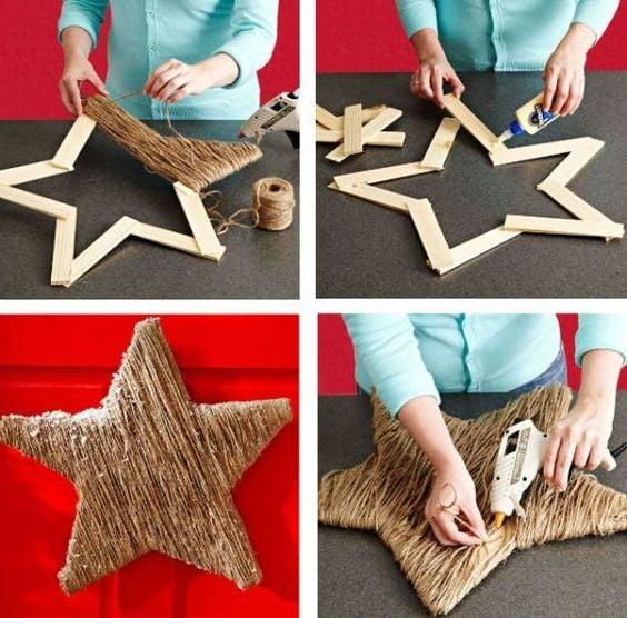 Anleitung für Weihnachtsstern aus natürlichen Materialien
