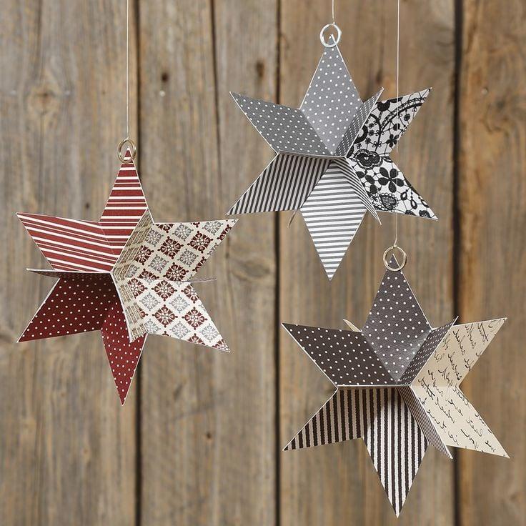 Tolle Idee für 3D Weihnachtssterne basteln