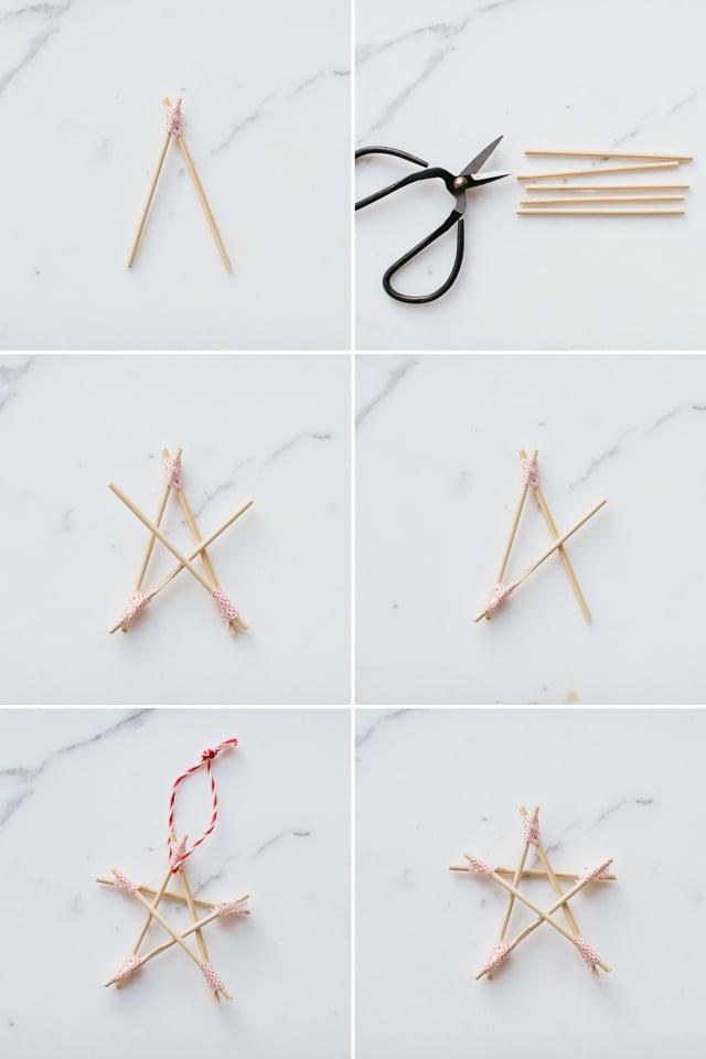 Weihnachtssterne basteln aus Holzspießchen
