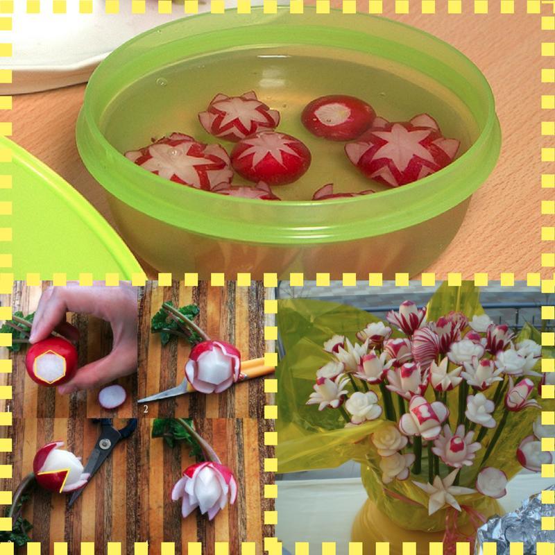 Blumen aus Radieschen einfach gestalten