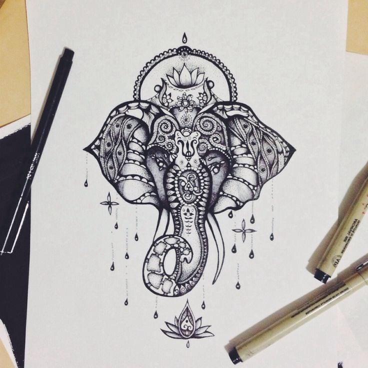 Das Elefant als ein Tattoo