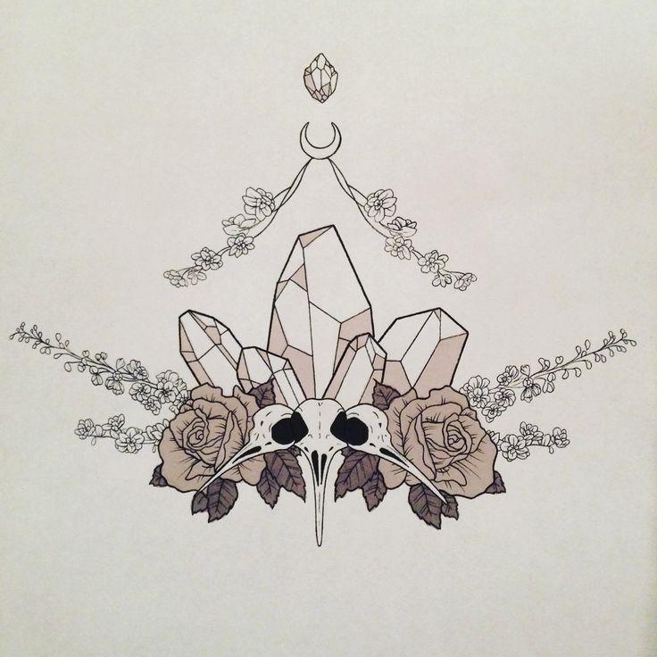 Diamanten als ein Hauptspieler im Brust Tattoo