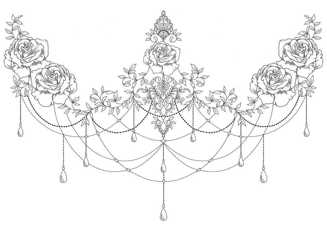 Eine Unter Brust Tattoo Skizze mit Rosen
