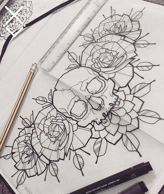 Eine Unter Brust Tattoo Skizze