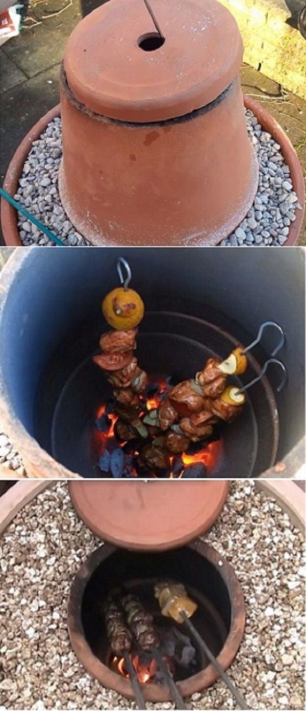 grill selber bauen aus tontopf - schritt für schritt anleitung - diy