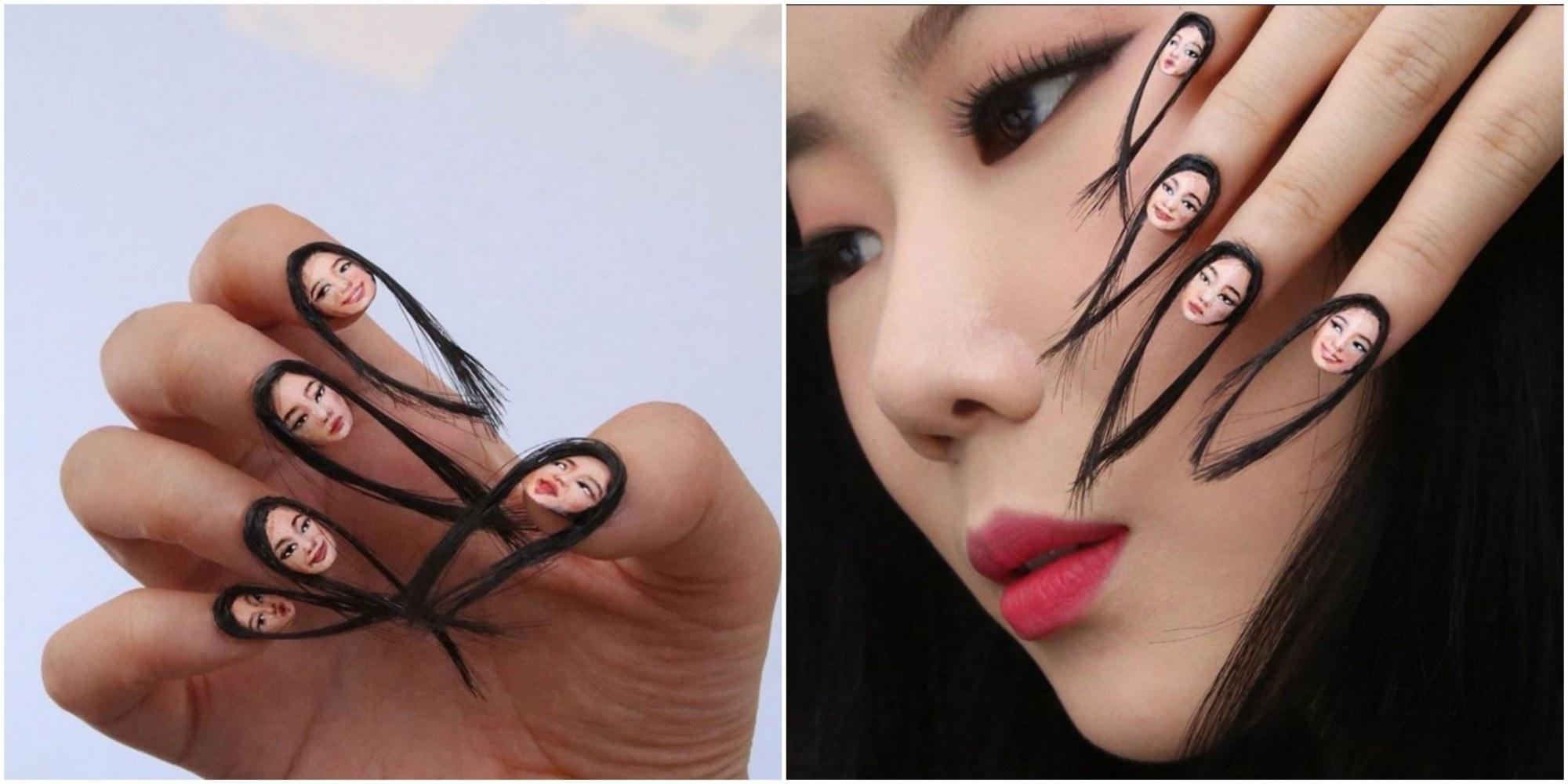 Die Haare schön auf Fingernägel