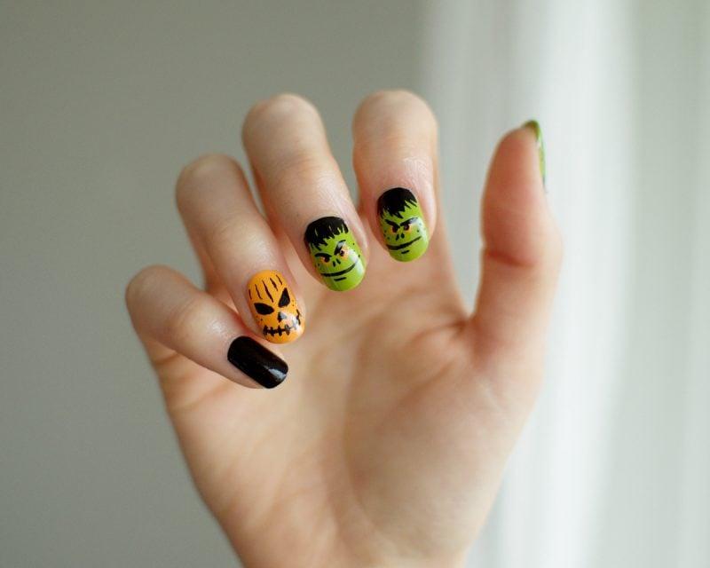 Halloween Nägel Farbig