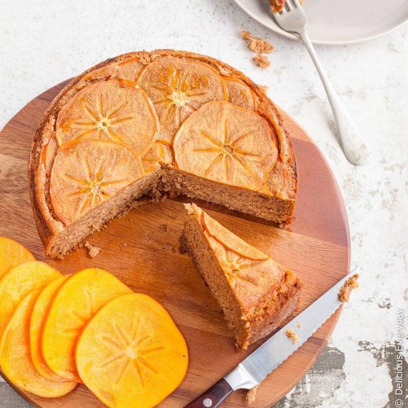 Gesunder Kuchen mit Kaki Obst