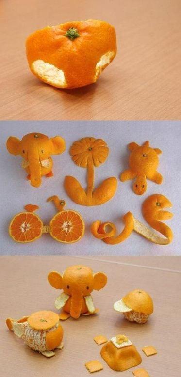 Basteln mit Orangenschalen