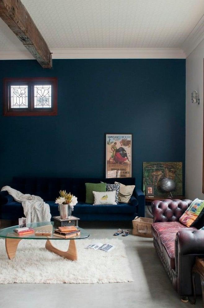 Petrol Farbe Wandfarbe im Wohnzimmer