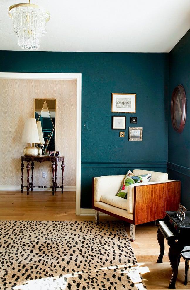 Petrol Farbe Schlafzimmer grüne Wandfarbe