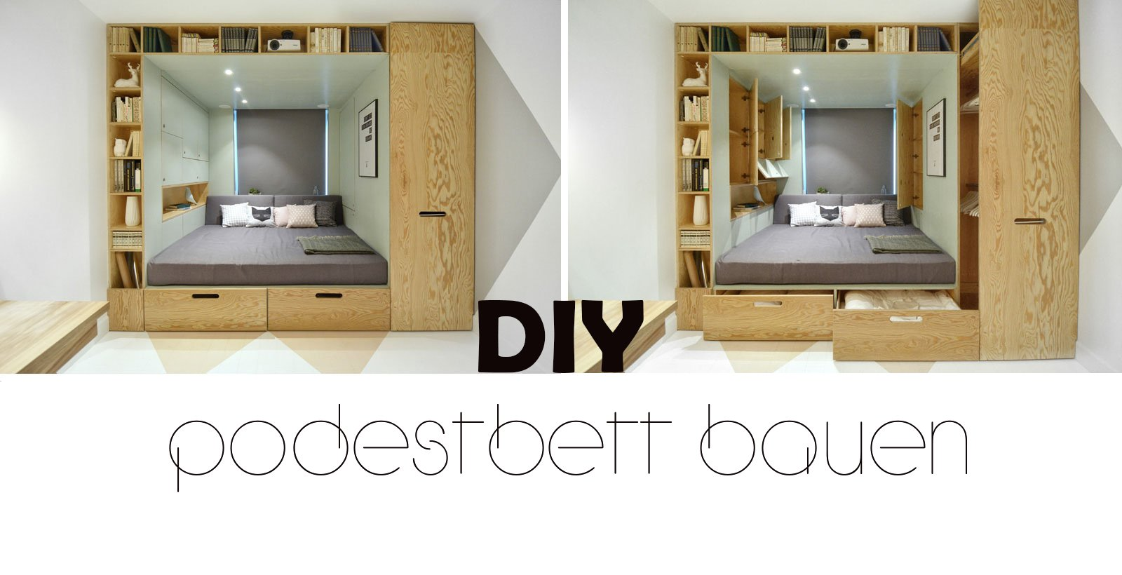 diy podestbett bauen diy innendesign zenideen. Black Bedroom Furniture Sets. Home Design Ideas