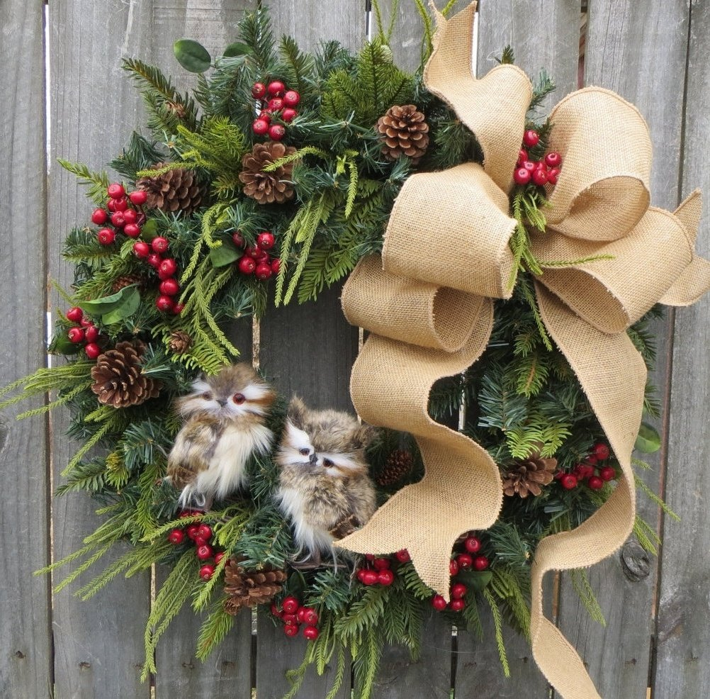 Hübscher Weihnachstkranz als Türdeko