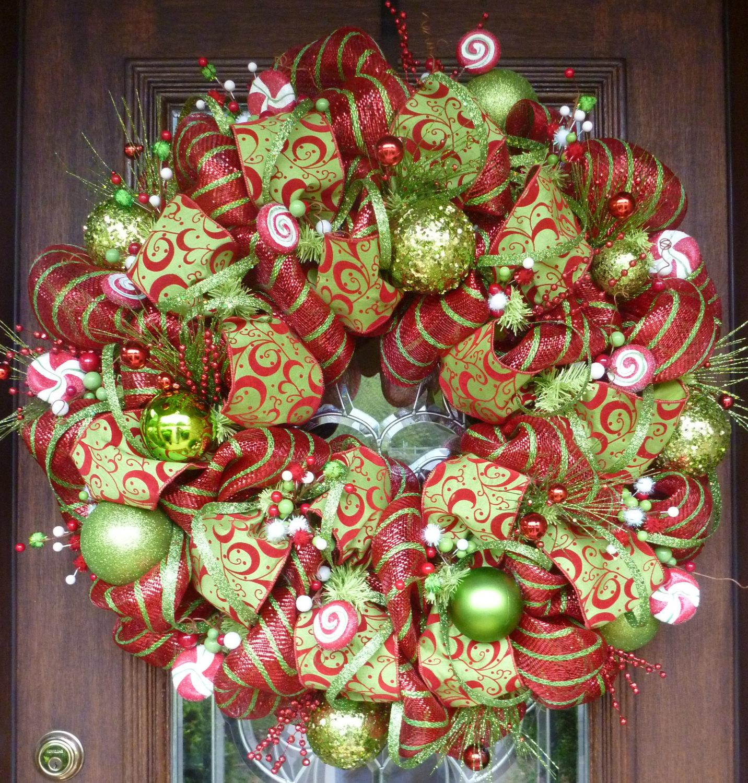 Türkranz Weihnachten aus Deko- und Netzschleifen