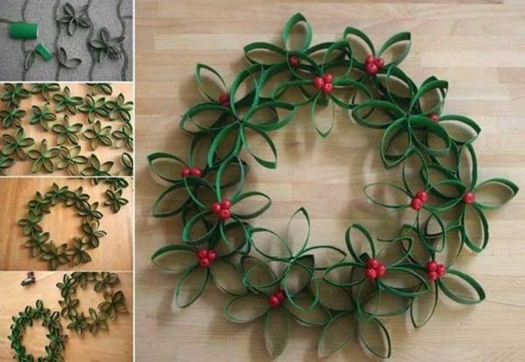 Türkranz Weihnachten aus Klopapierrollen