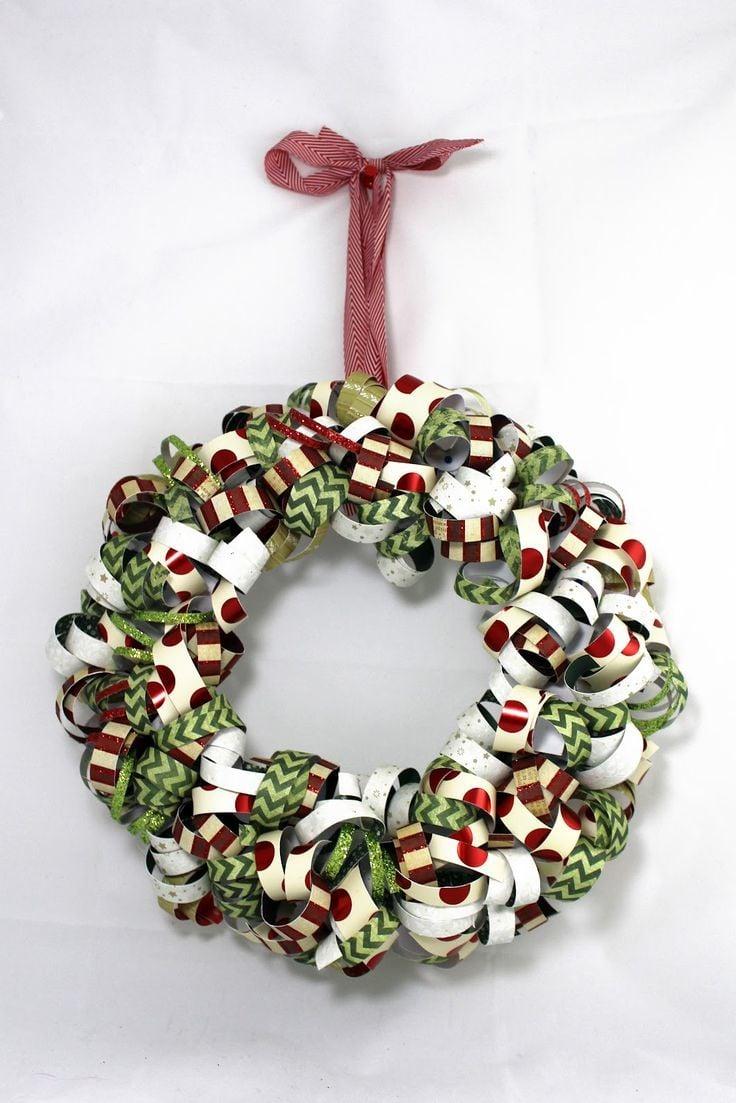 Türkranz Weihnachten aus Papier-Girlanden