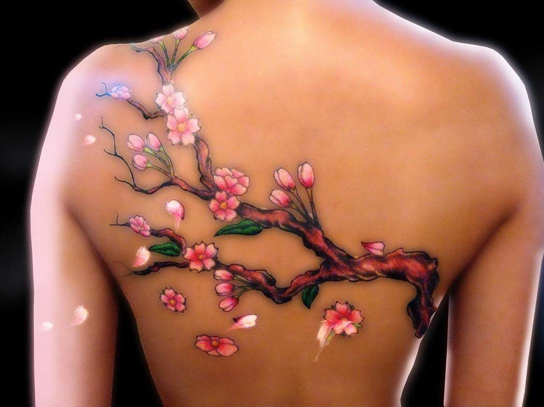 Coole Kirschblüten - Wasserfarbentattoo