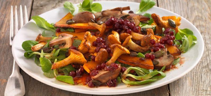 Salat Kalorien Kürbissalat mit Pilzen