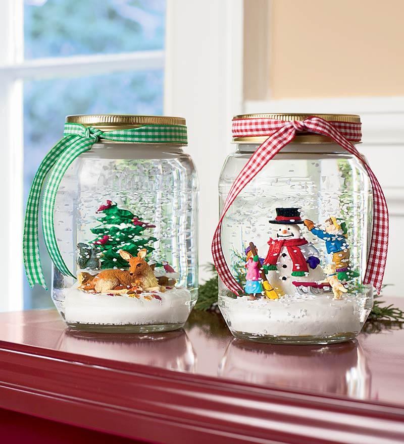Basteln Weihnachten - Schneekugeln selber machen