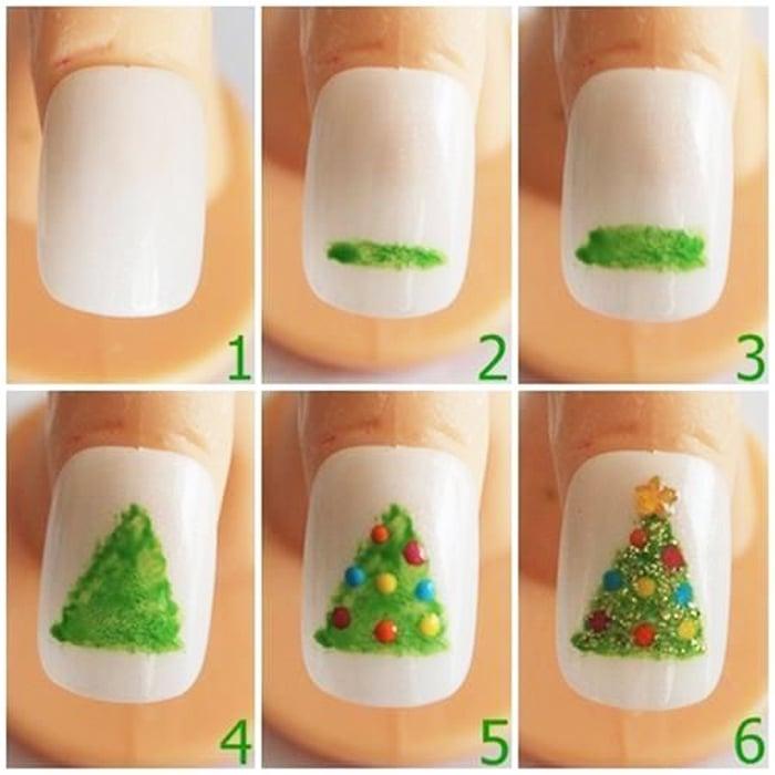 Bilder Anleitung für Nageldesign Weihnachten