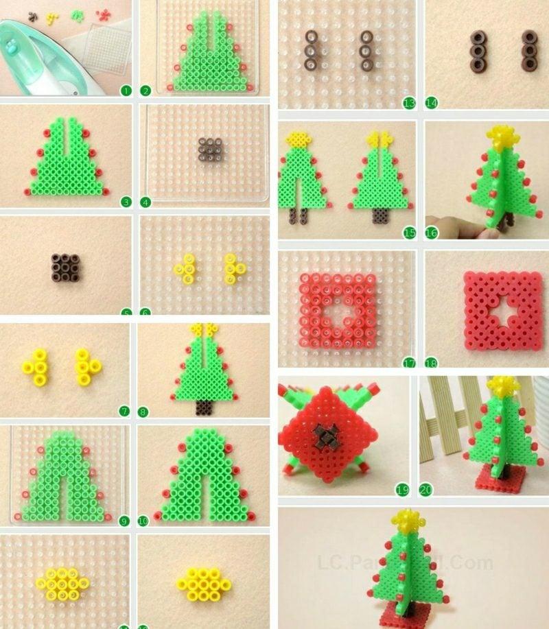 Bügelperlen Vorlagen Weihnachten 3d Weihnachtsbaum basteln Anleitung