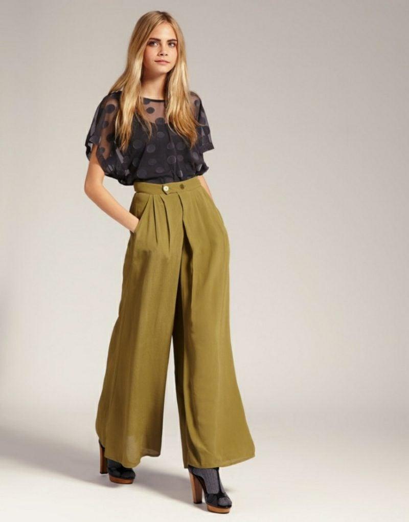 Hippie Look zum Nachstylen elegante Hose hohe Taile