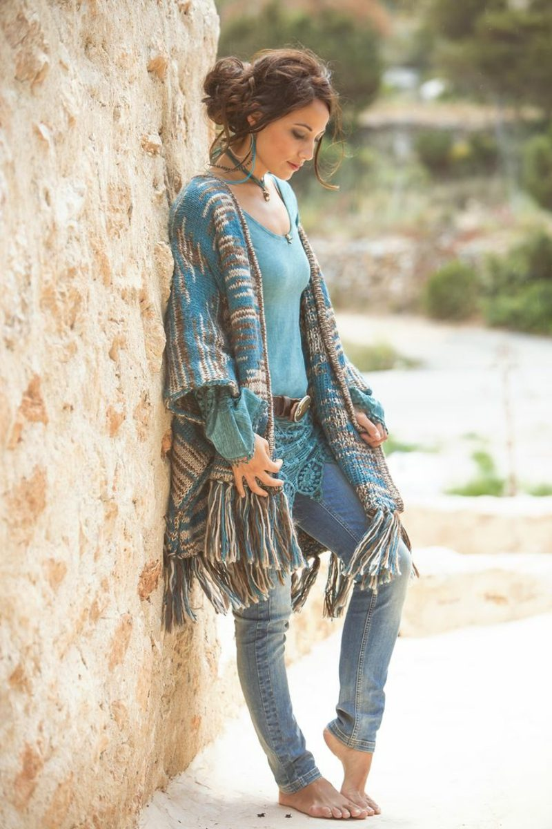 Hippie Style Winter Outfit in Blau