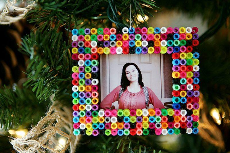 Bügelperlen Vorlagen Weihnachten Fotorahmen dekorieren