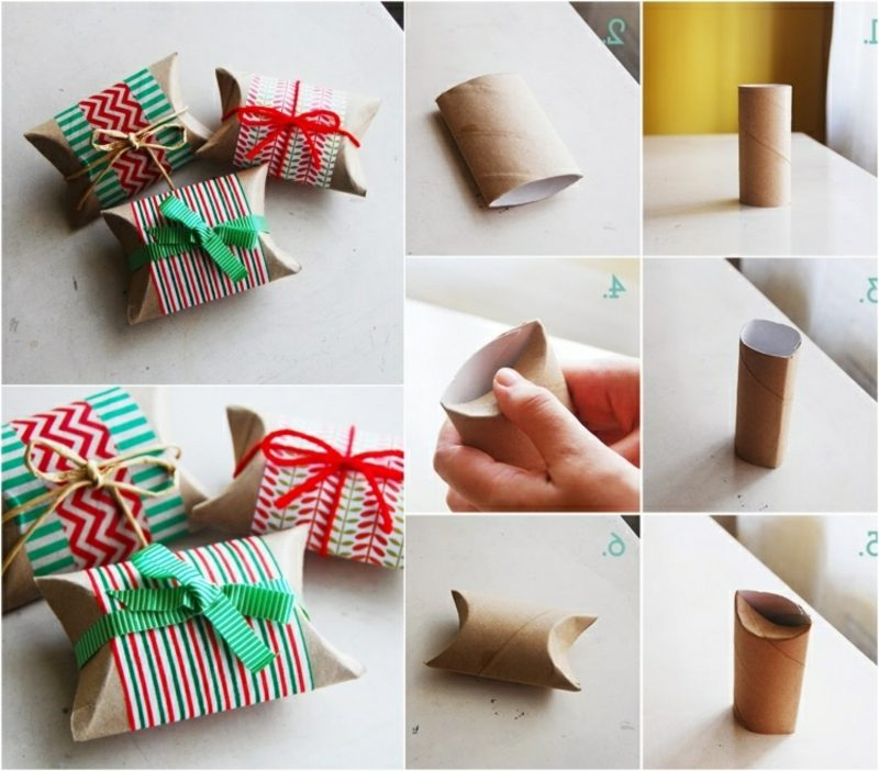 Geschenke verpacken Weihnachten Geschenkschachtel aus Klopapierrollen