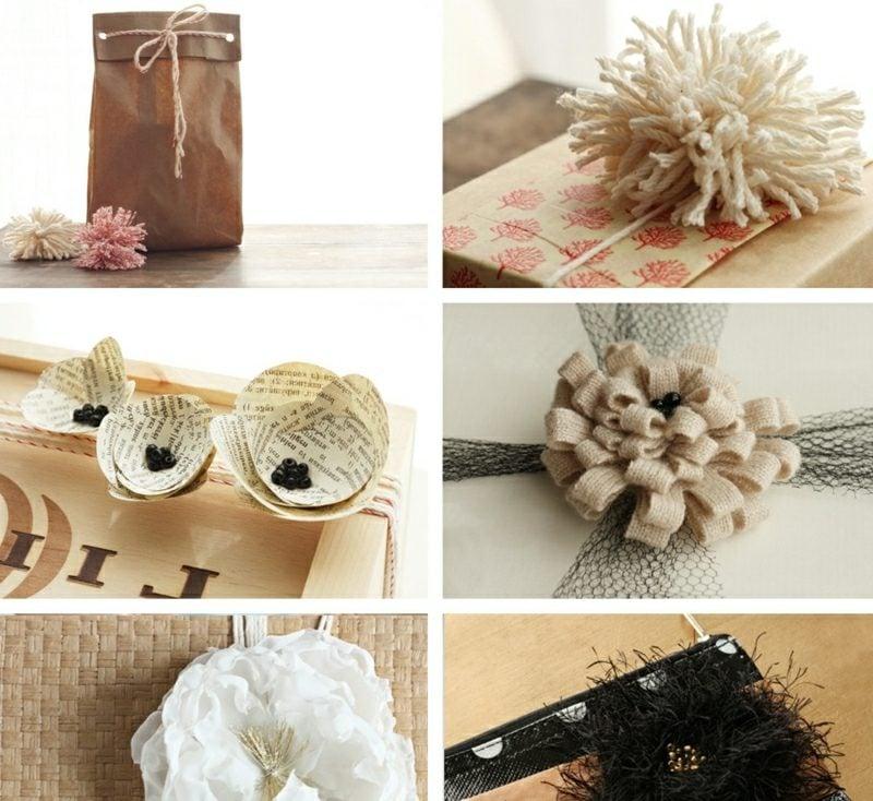 Geschenke verpacken Blumen und Pompoms basteln