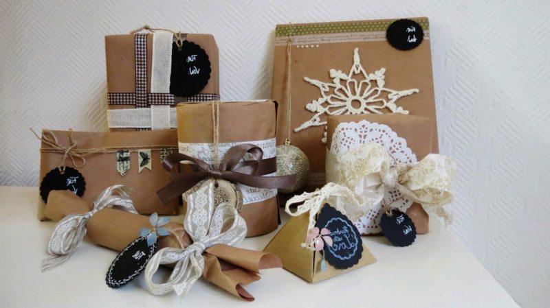 Geschenke verpacken Weihnachten originelle Dekoideen
