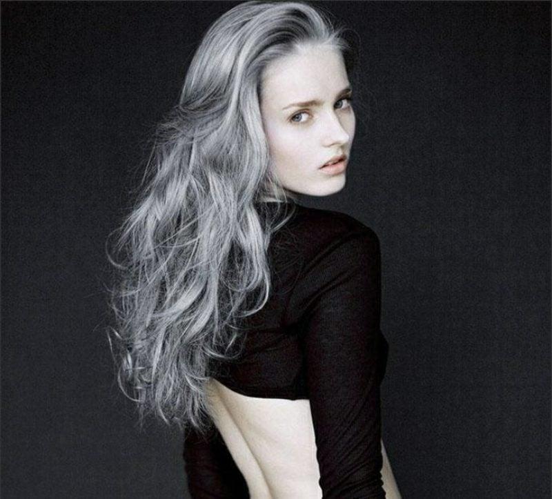 graue Haare eleganter Look