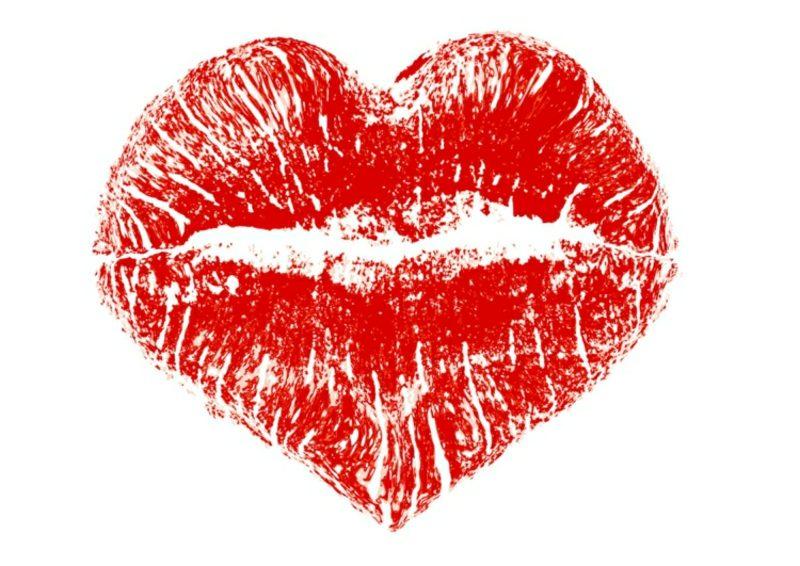 Kussmund Tattoo rot Lippenabdruck Herzform Vorlage