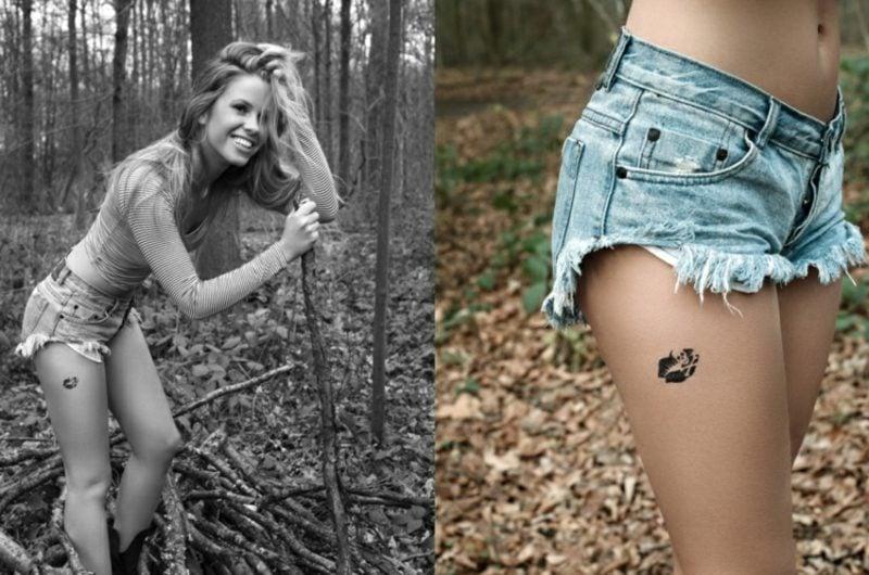Kussmund Tattoo Oberschenkel junge Frau