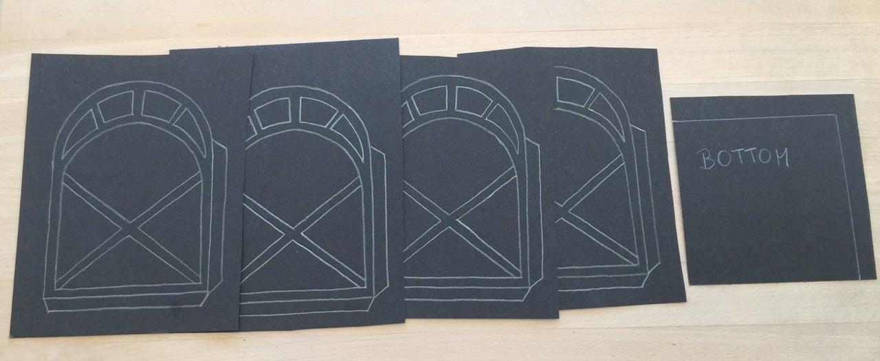 Papier Laterne basteln Schritt 1