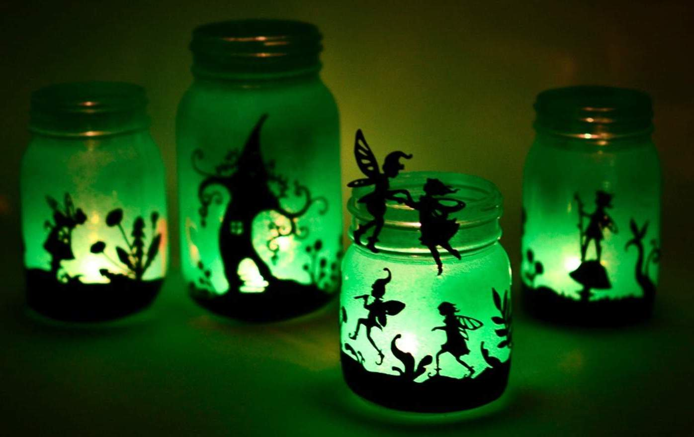 Bastel Elfe auf dem Glas