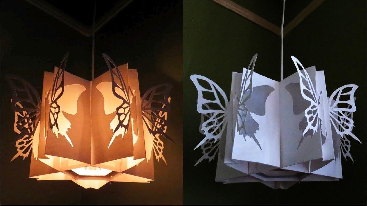 Selbst gemachte Schmetterlingslampe aus Papier