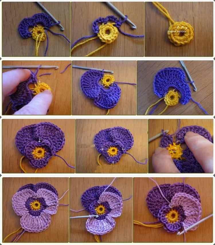 Blumen zur Dekoration von Mützen und Schals