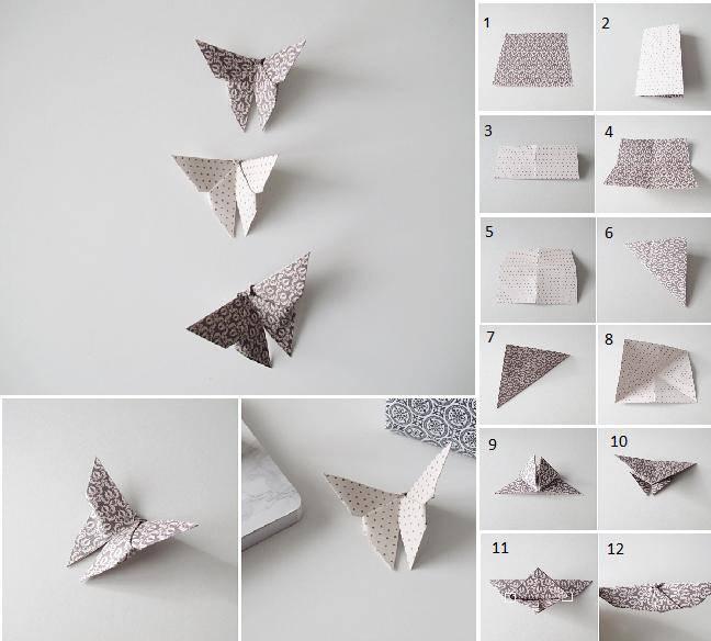 Schmetterlinge aus Papier falten