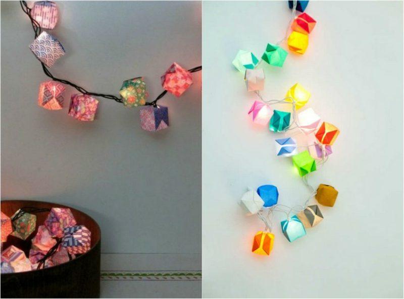 Origami Weihnachten Lichterkette mit bunten Papierschachteln dekorieren