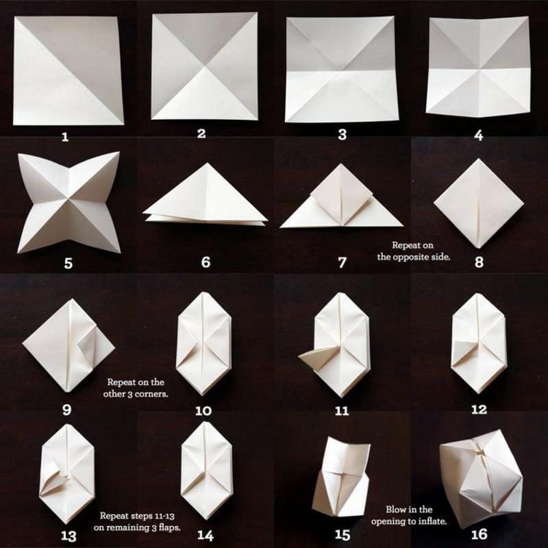 Origami Weihnachten Schachteln falten Anleitung in Bildern