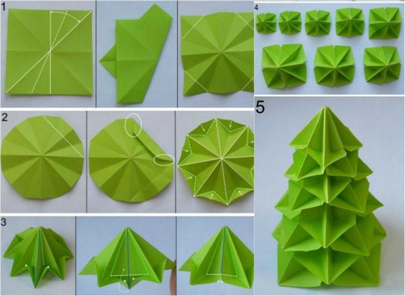 Origami Weihnachten Tannenbaum origineller Look